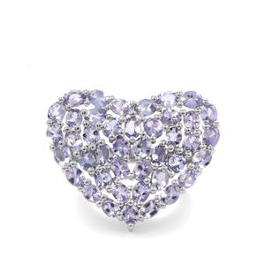 7.35ct Tanzanite Sterling Silver Heart Ring