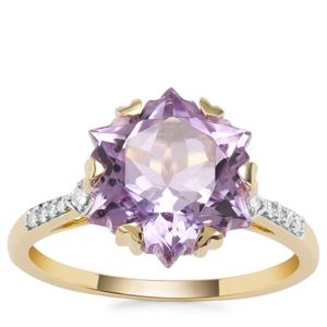 Wobito Snowflake Cut Rose De France Amethyst Ring with Diamond in 9K Gold 4.24cts