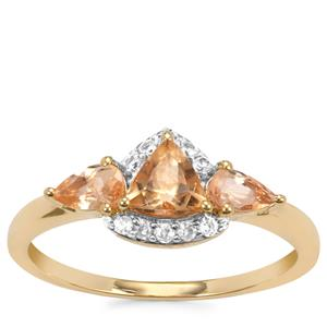 Ouro Preto Imperial Topaz Ring with White Zircon in 10K Gold 1.16cts