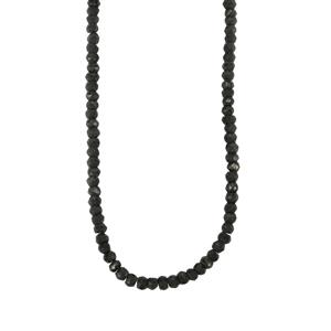 Black Spinel Graduated Bead Necklace in Sterling Silver 65cts