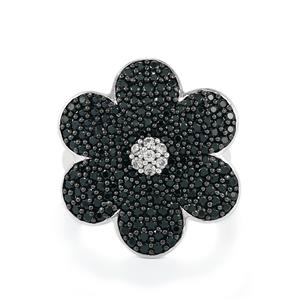Black Spinel Ring with White Zircon in Sterling Silver 2.67cts