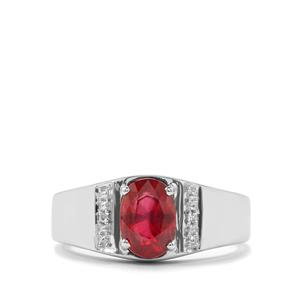 Thai Ruby Ring with White Topaz in Sterling Silver 1.71cts (F)