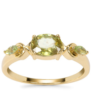 Ambilobe Sphene Ring with Peridot in 9K Gold 1.25cts