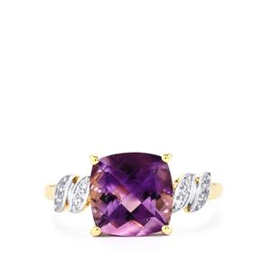 Moroccan Amethyst & White Zircon 9K Gold Ring ATGW 2.89cts