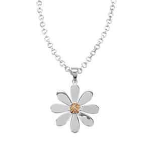 Diamantina Citrine Necklace in Sterling Silver 0.16ct