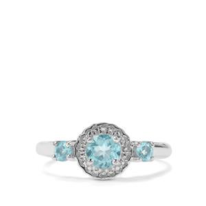 0.86ct Madagascan Blue Apatite Sterling Silver Ring