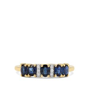Australian Blue Sapphire Ring with Diamond in 9K Gold 1.10cts