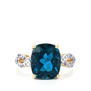 Marambaia London Blue Topaz Ring with White Zircon in 9K Gold 6.85cts