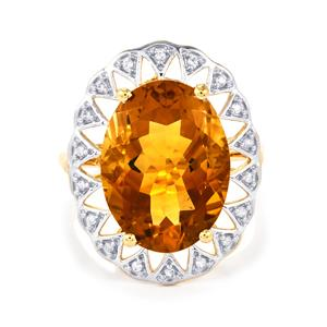 Diamantina Citrine Ring with White Zircon in 10k Gold 8.16cts