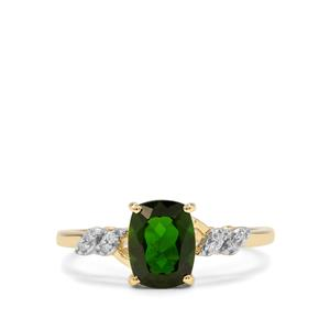 Siberian Diopside & Diamond 9K Gold Ring ATGW 1.54cts