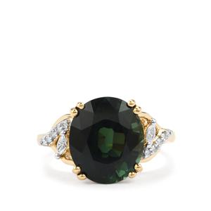 Green Tourmaline Ring with Diamond in 18K Gold 5.64cts
