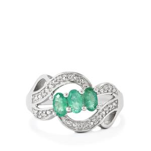 Zambian Emerald Ring with Ratanakiri Zircon in Sterling Silver 0.69ct