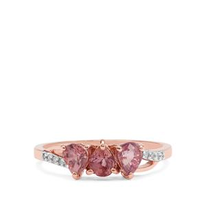Padparadscha Sapphire Ring with Diamond in 9K Rose Gold 1.22cts