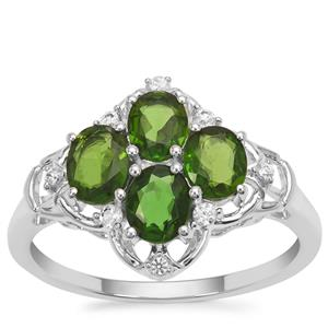 Chrome Diopside Ring with White Zircon in Sterling Silver 1.74cts