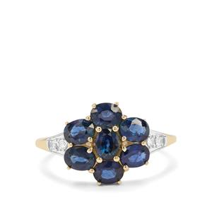 Natural Nigerian Blue Sapphire & White Zircon 9K Gold Ring ATGW 2.41cts