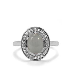 Aquamarine & White Topaz Sterling Silver Ring ATGW 2.38cts