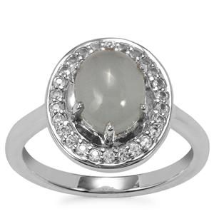 Aquamarine Ring with White Topaz in Sterling Silver 2.38cts