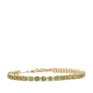 Ambanja Demantoid Garnet Bracelet in 10K Gold 6.37cts