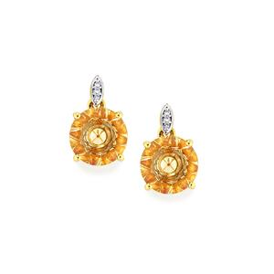 Lehrer KaleidosCut Serenite, Padparadscha Colour Topaz Earrings with Diamond in 10K Gold 4.54cts