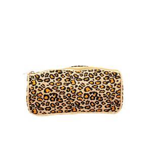 Destello natural Jute leopard print cosmetic pouch