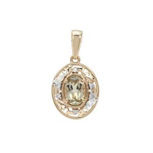 Csarite® Pendant with White Zircon in 9K Gold 1cts