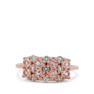 Cherry Blossom Morganite Ring with Aquaiba™ Beryl in 9K Gold 1.05cts
