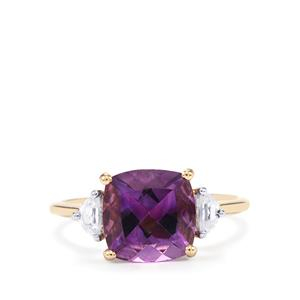 Moroccan Amethyst & White Zircon 10K Gold Ring ATGW 3.12cts