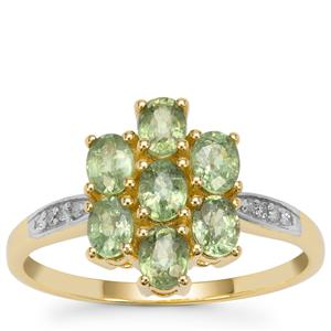 Green Dragon Demantoid Garnet Ring with Diamond in 9K Gold 1.70cts