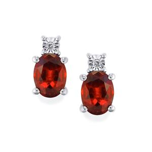 Hessonite Garnet Earrings with Diamond in Platinum Plated Sterling Silver 3.04cts