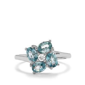 Ratanakiri Blue Zircon Ring with White Zircon in Sterling Silver 2.84cts