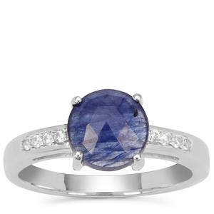 Rose Cut Blue Sapphire Ring with White Zircon in Sterling Silver 2.22cts