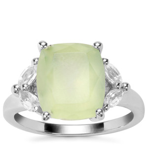 Prehnite Ring with White Topaz in Sterling Silver 4.96cts