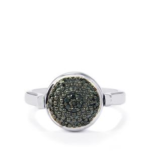 Black Diamond Reversible Ring with White Diamond in Sterling Silver 0.18ct