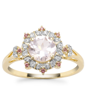 Alto Ligonha Morganite, Pink Tourmaline Ring with White Zircon in 9K Gold 1.05cts
