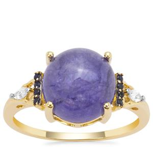 Tanzanite, Blue Sapphire Ring with White Zircon in 9K Gold 5.65cts