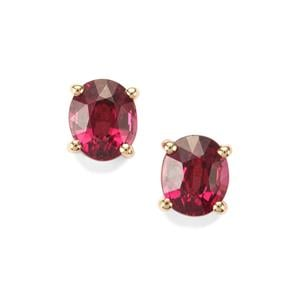 1.33ct Comeria Garnet 9K Gold Earrings