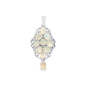 Ethiopian Opal Pendant with White Zircon in Sterling Silver 2.23cts