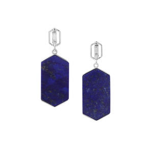 Sar-i-Sang Lapis Lazuli Earrings with White Zircon in Sterling Silver 29.74cts