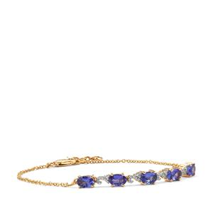 AAA Tanzanite Bracelet with Diamond in 18K Gold 2.49cts