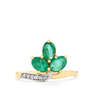 Zambian Emerald & Diamond 9K Gold Ring ATGW 1.26cts