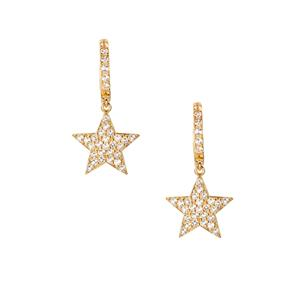 White Topaz Star Earrings in Gold Tone Sterling Silver 1.28cts