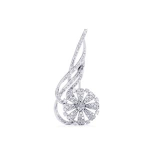 3/4ct Diamond Sterling Silver Brooch