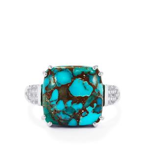 Egyptian Turquoise & White Topaz Sterling Silver Ring ATGW 8.16cts