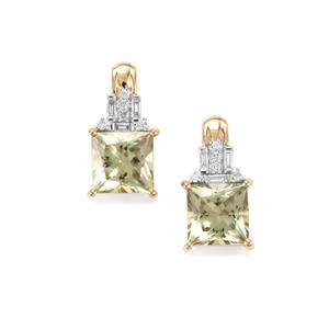 Csarite® Earrings with Diamond in 18K Gold 4.06cts