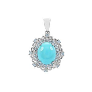 Sleeping Beauty Turquoise Pendant with Swiss Blue Topaz in Sterling Silver 4.33cts