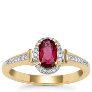 Rubellite Ring with Diamond in 18k Gold 0.64cts