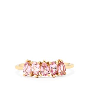 Imperial Pink Topaz Ring in 9K Gold 1.13cts