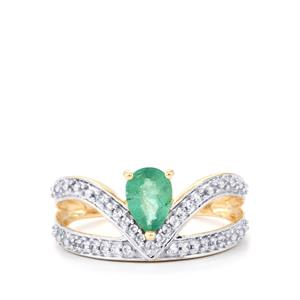 Zambian Emerald & White Zircon 10K Gold Ring ATGW 0.77cts