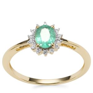 Zambian Emerald Ring with White Zircon in 9K Gold 0.68ct