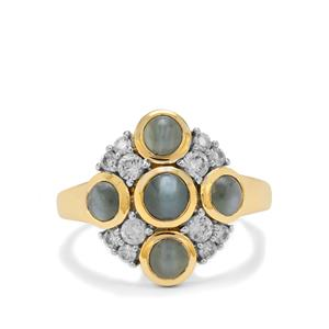 Cats Eye Alexandrite Ring with White Zircon in 9K Gold 2.75cts